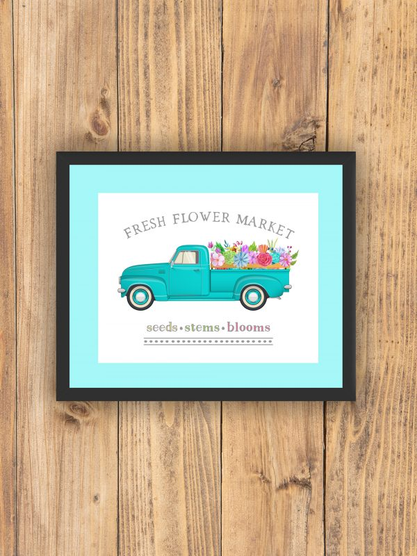 fresh flower market teal mat black frame