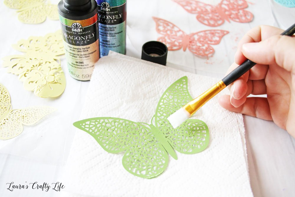 Apply two coats of Dragonfly glaze to each butterfly