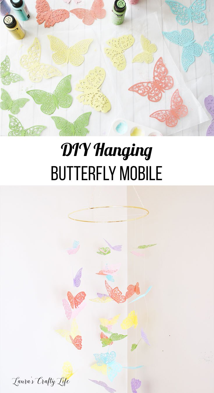 DIY hanging butterfly mobile