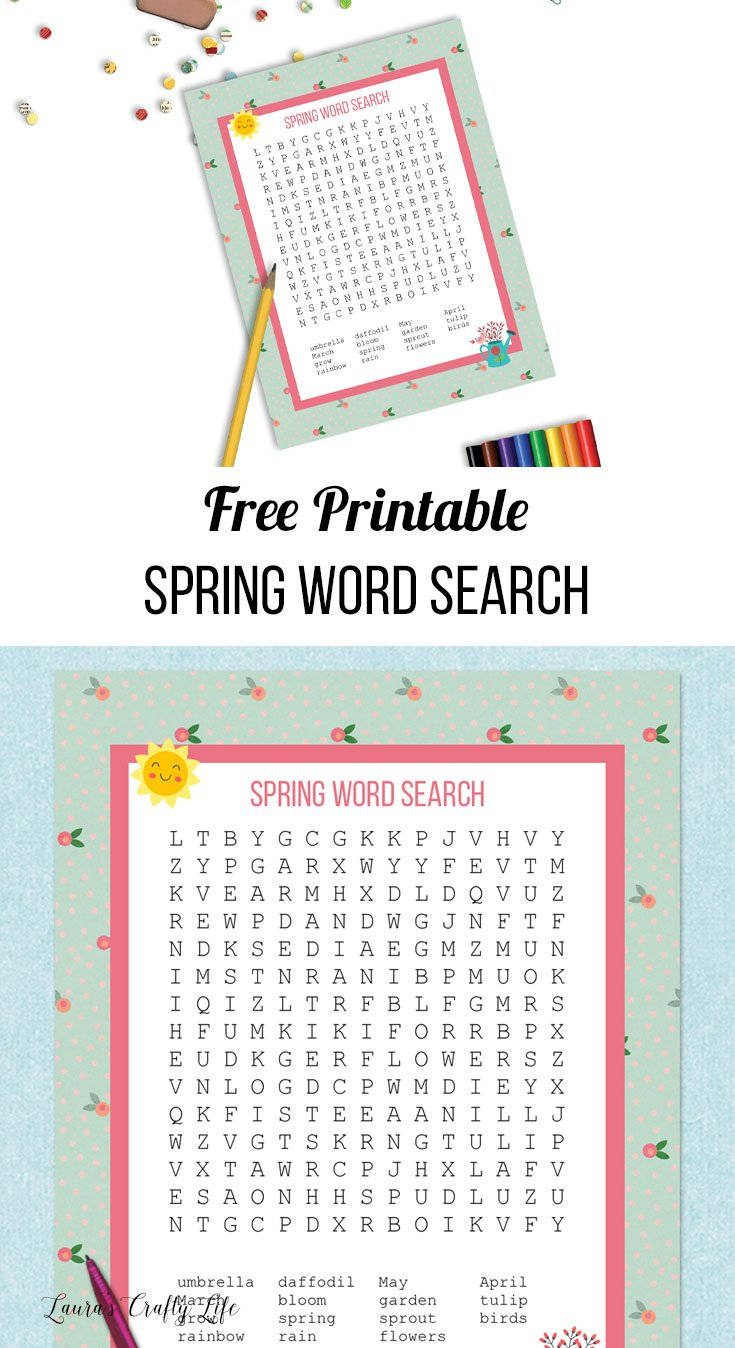Spring word search and answer key