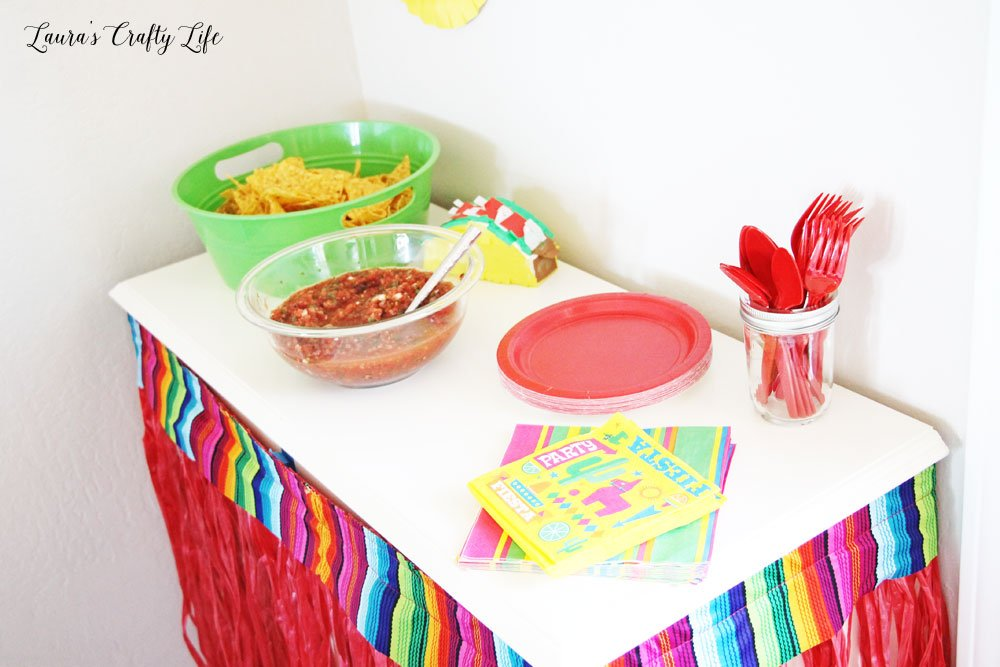 Chips and salsa table for fiesta taco table