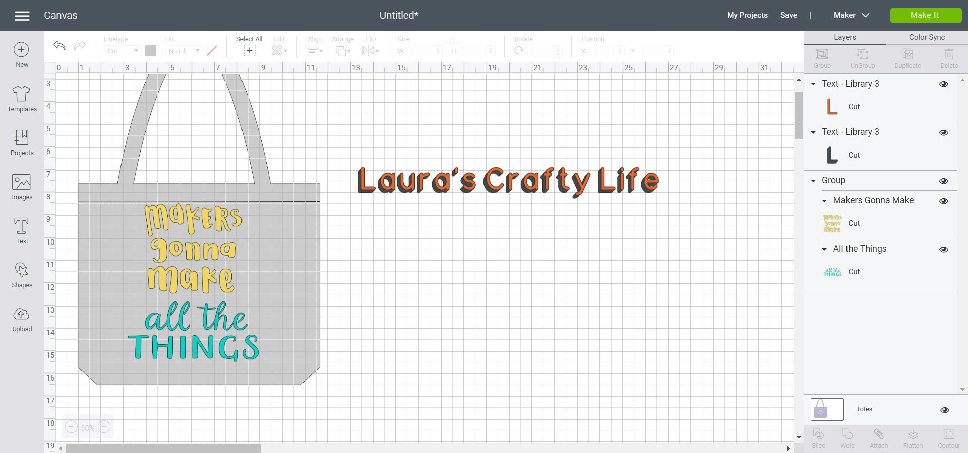 Add layered text to Cricut Design Space