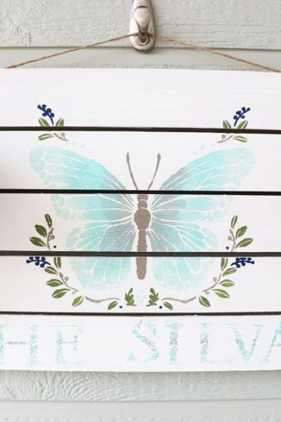 Butterfly hand painted sign