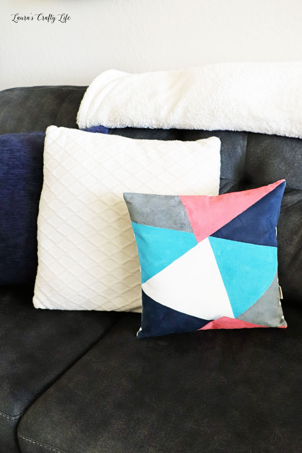 Color block pillow with Plaid Fabric creations