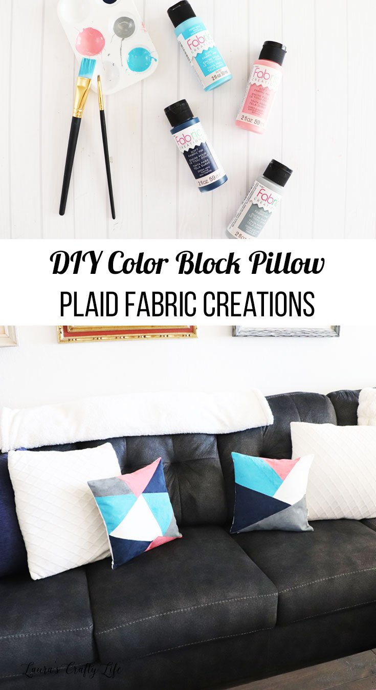DIY color block pillows with Plaid fabric creations