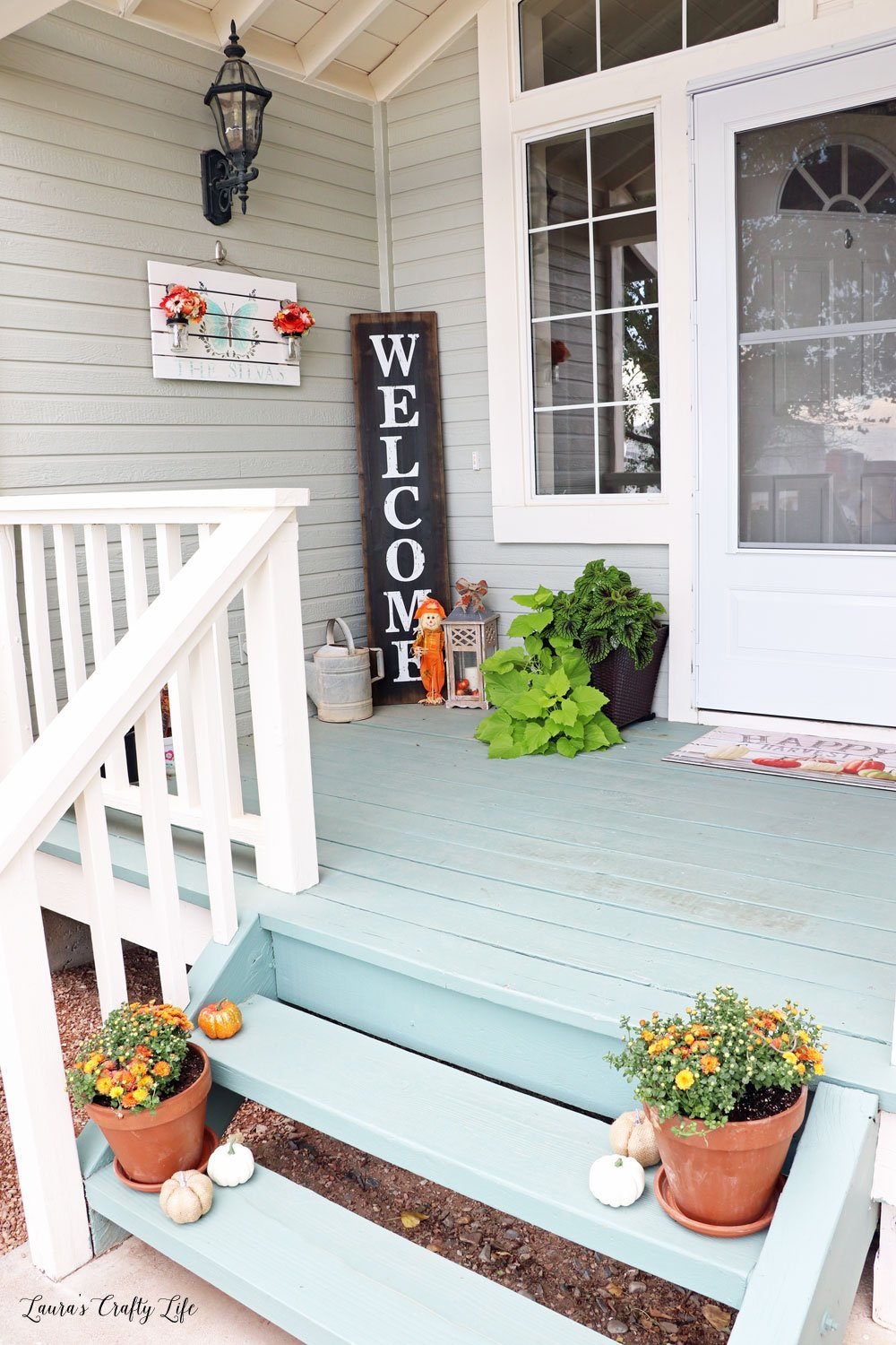 Fall front porch and hand painted sign