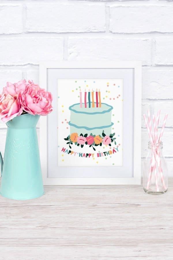 birthday cake mockup white frame