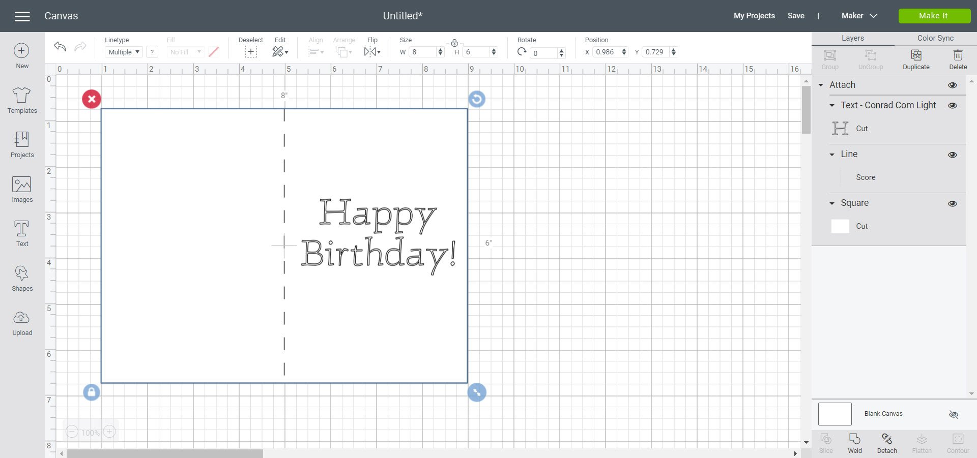 Use attach to work with score lines and writing in Cricut Design Space