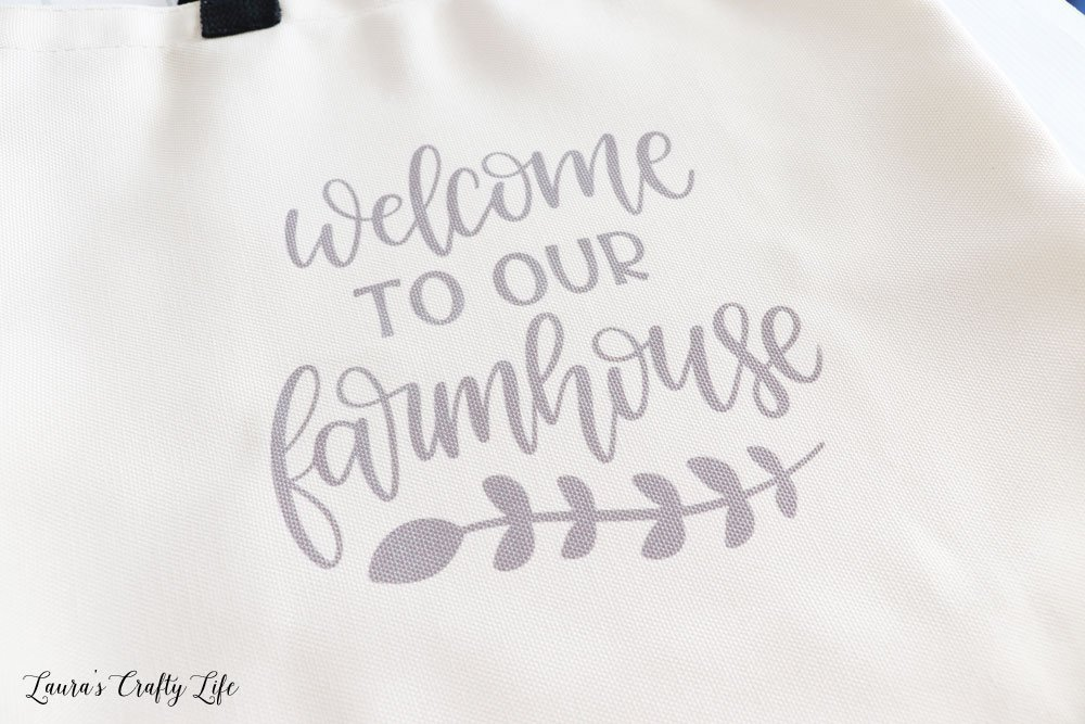Welcomg to our Farmhouse tote bag close up