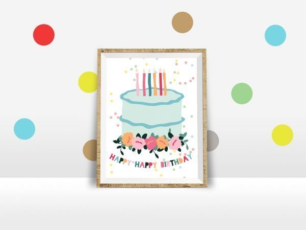 birthday cake mockup polka dot wall