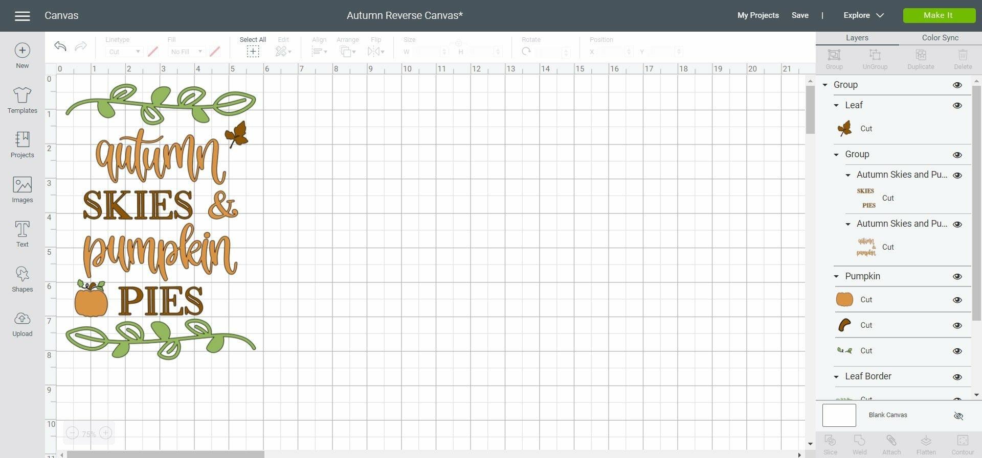 Autumn Reverse Canvas - Cricut Design Space File