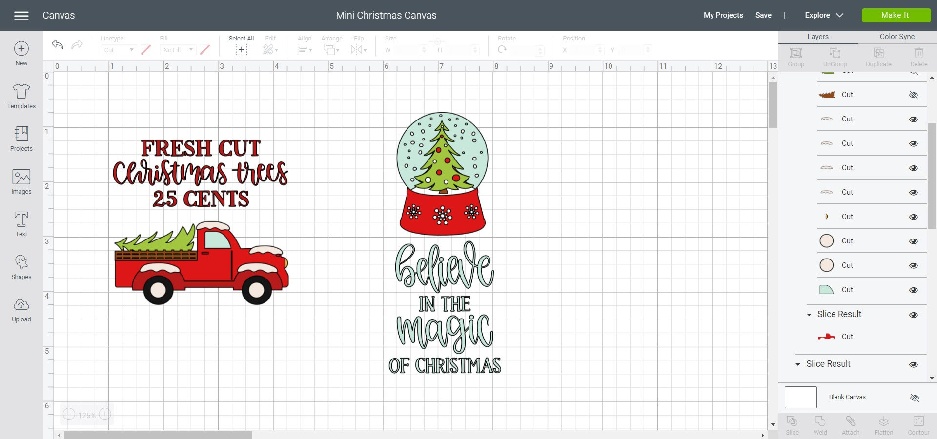 Cricut Design Space Mini Christmas Canvas