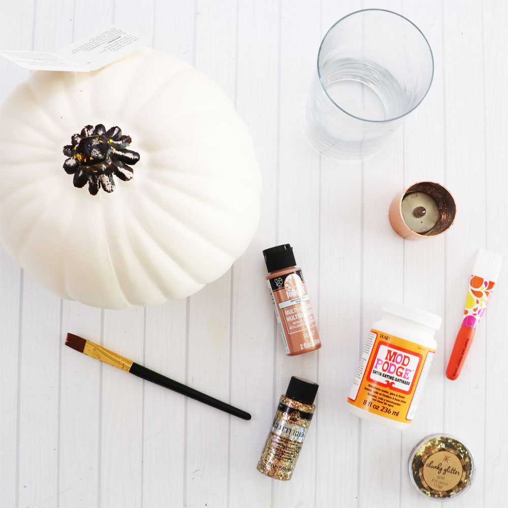 supplies for pumpkin candle holder