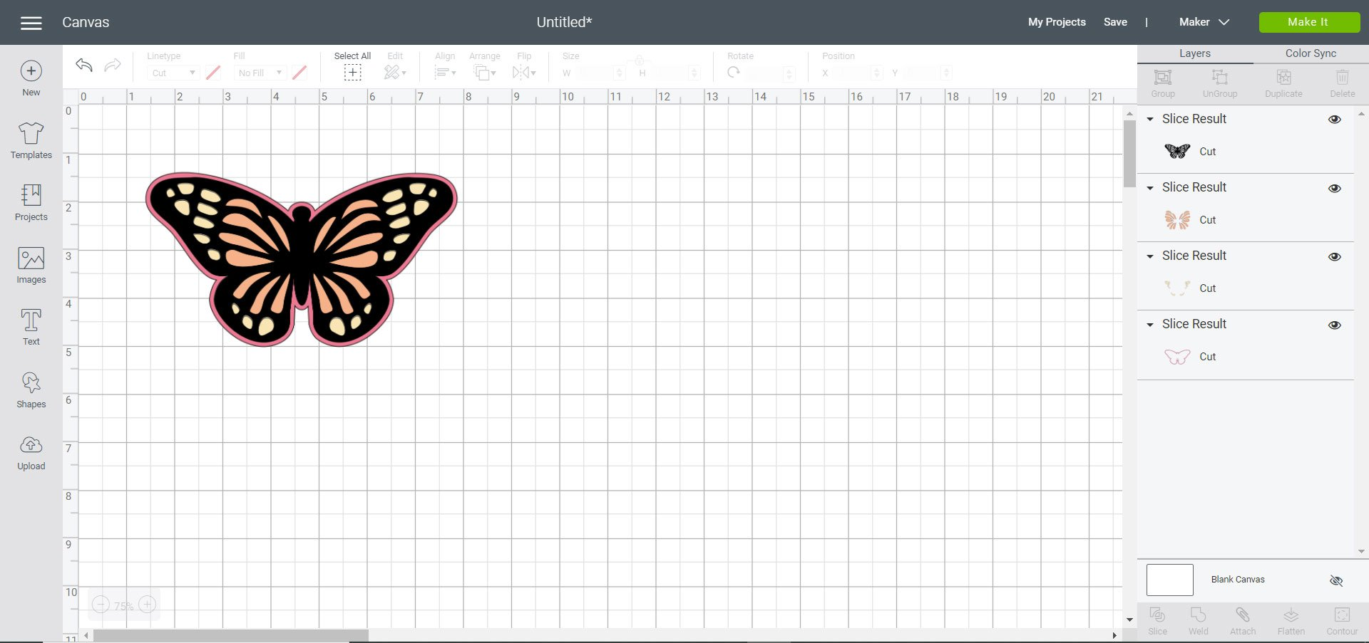 butterfly sliced Cricut Design Space