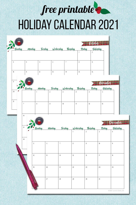 free printable holiday calendar 2021