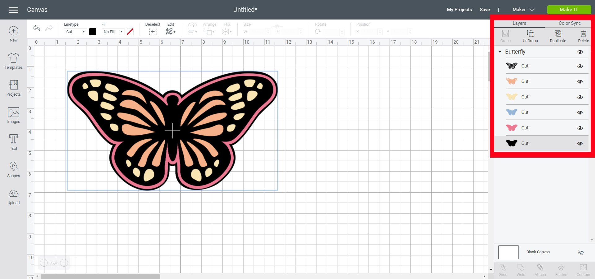 unhide layers for butterfly design