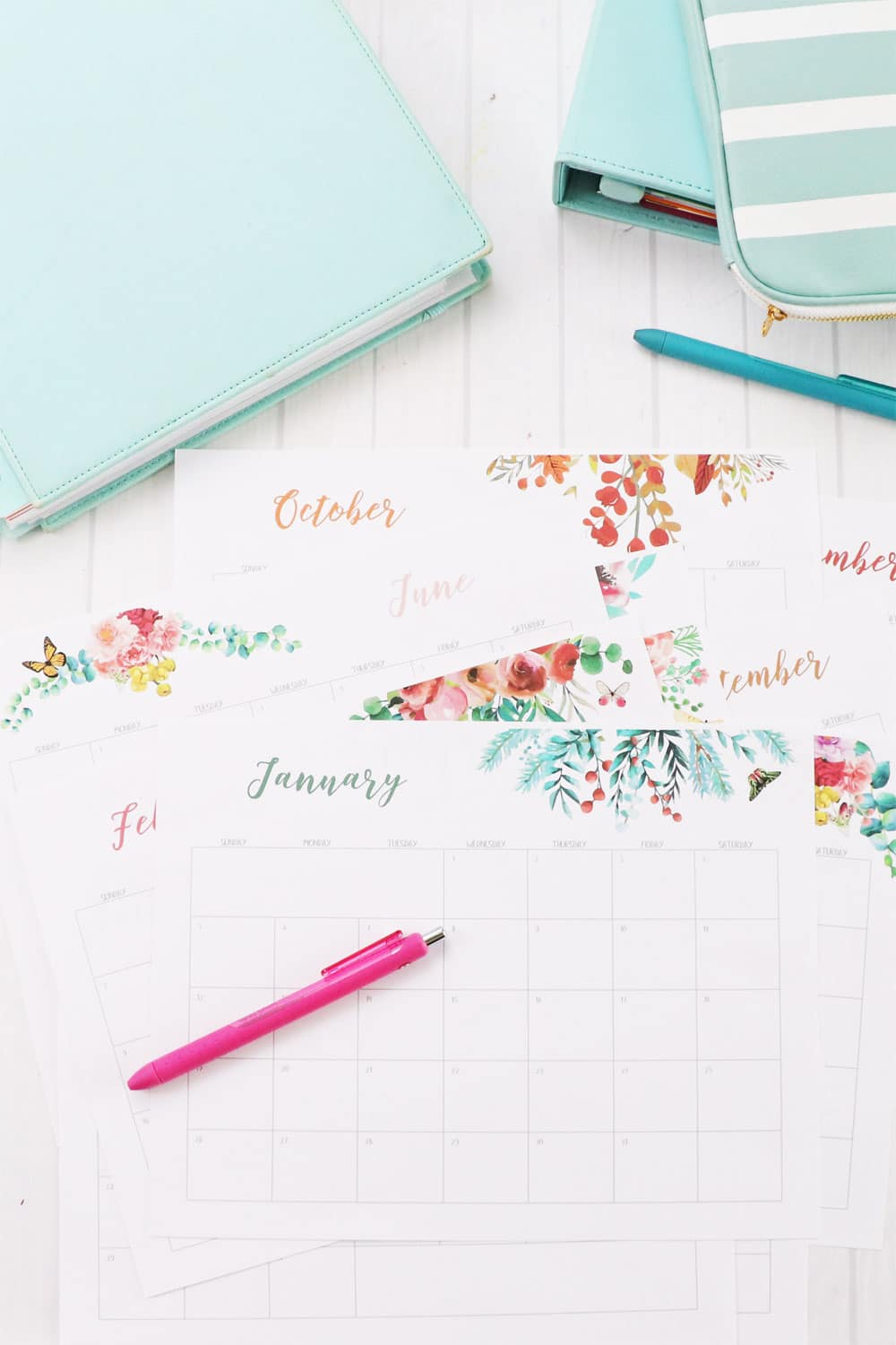 2020 floral watercolor calendar