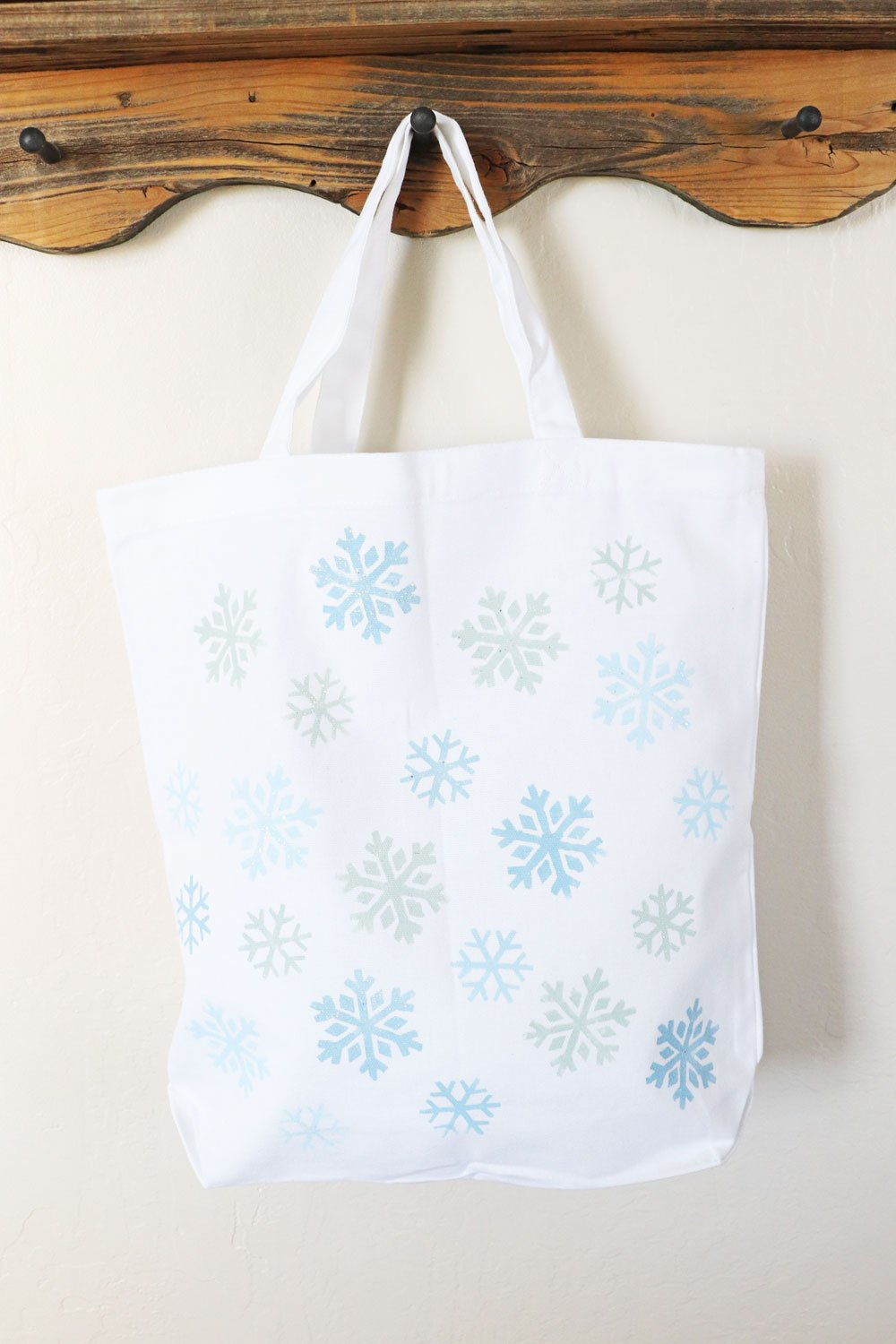 DIY painted snowflake tote bag