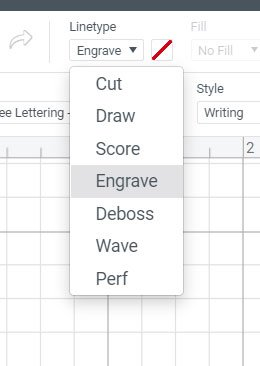 engrave drop down menu Cricut Design Space