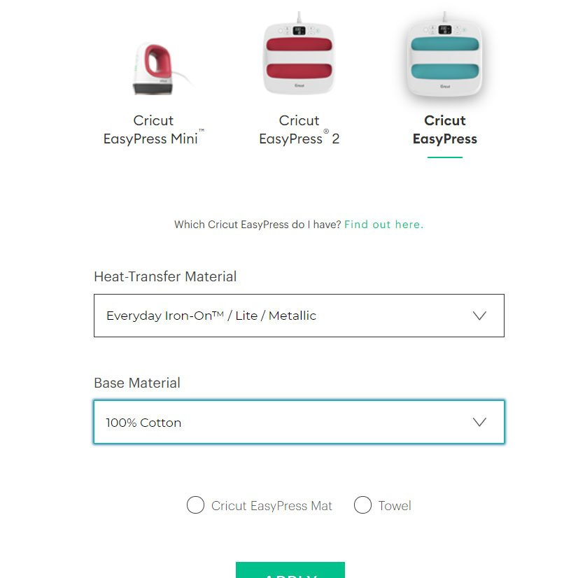 Interactive Cricut Heat Guide - everyday iron-on and 100% cotton