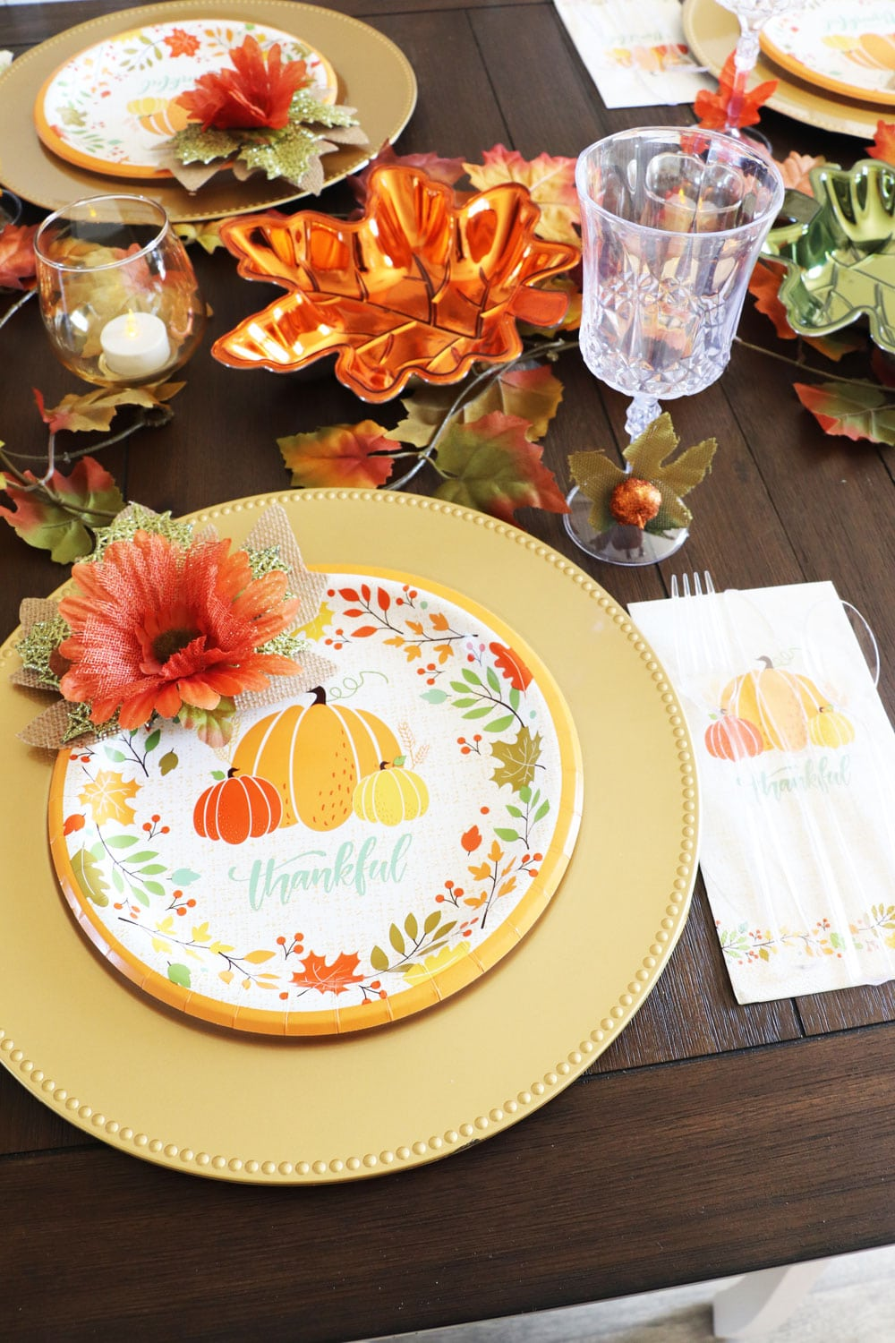 fall tablescape Dollar Tree