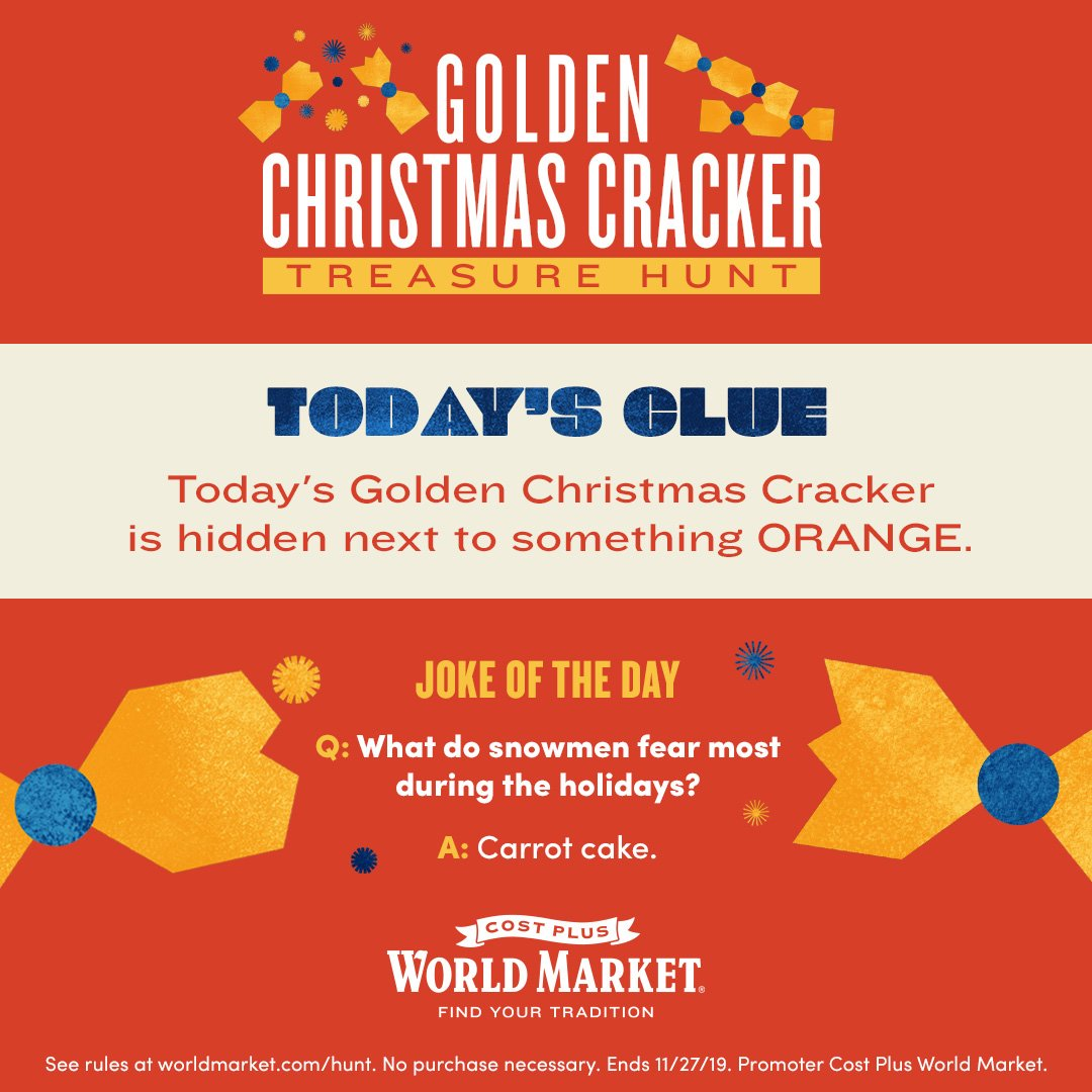 Golden Christmas Cracker Treasure Hunt Clue #1