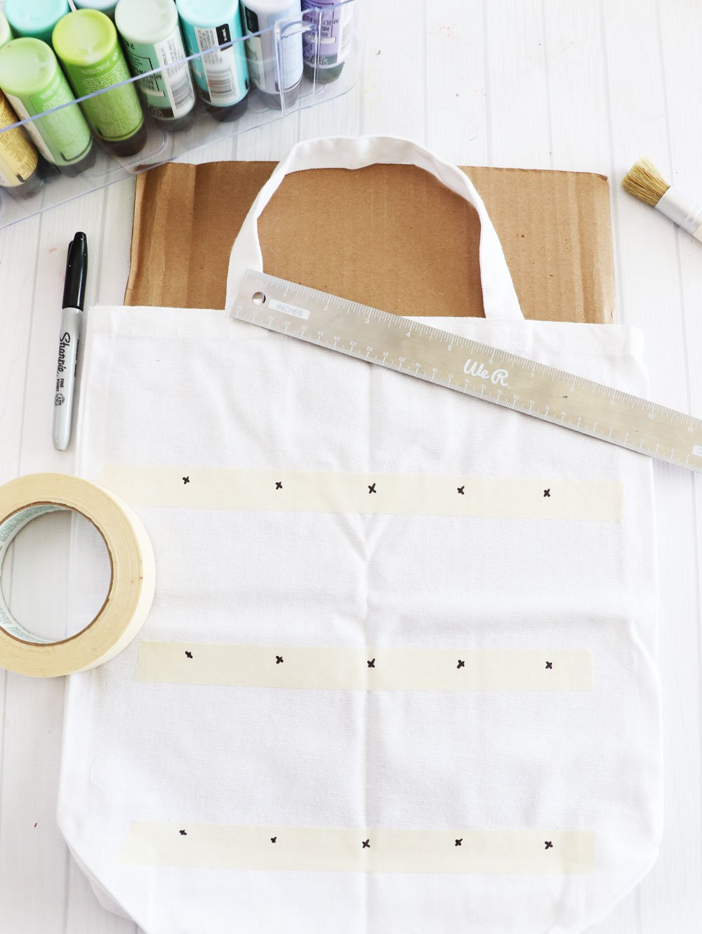 mark design spacing on tote