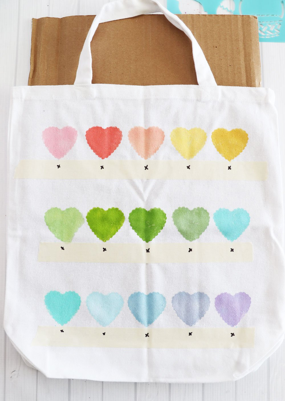 painted tote with hearts