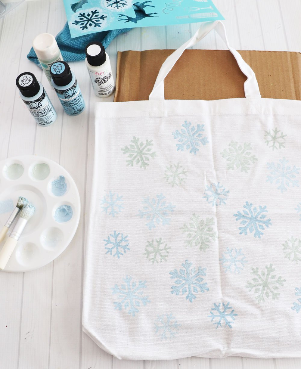painted tote with snowflakes