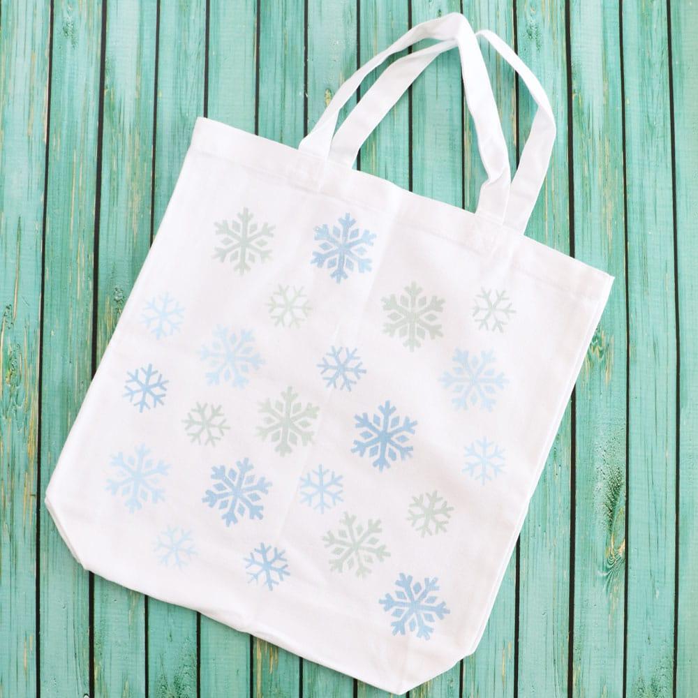 snowflake painted tote