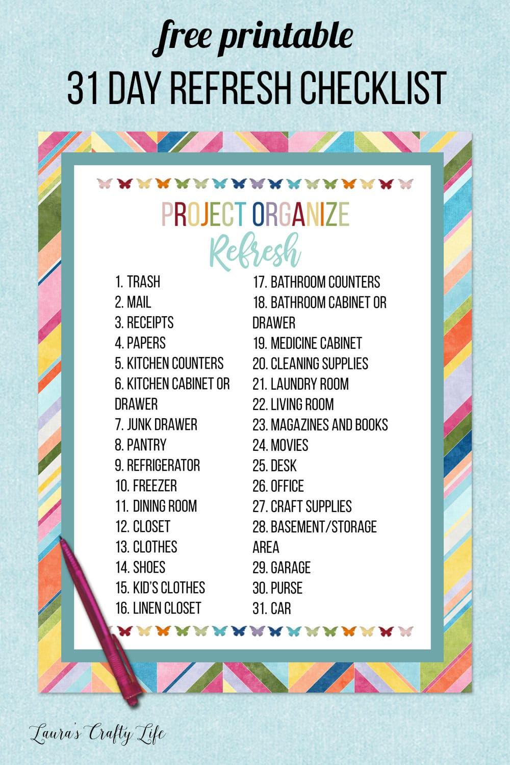 project organize refresh free printable