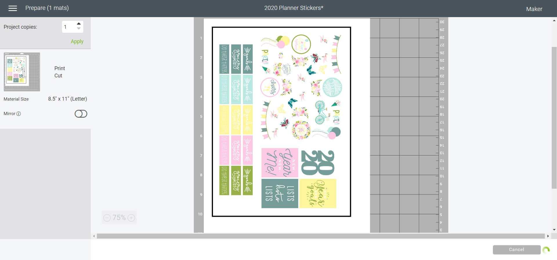 mat preview - Cricut Design Space