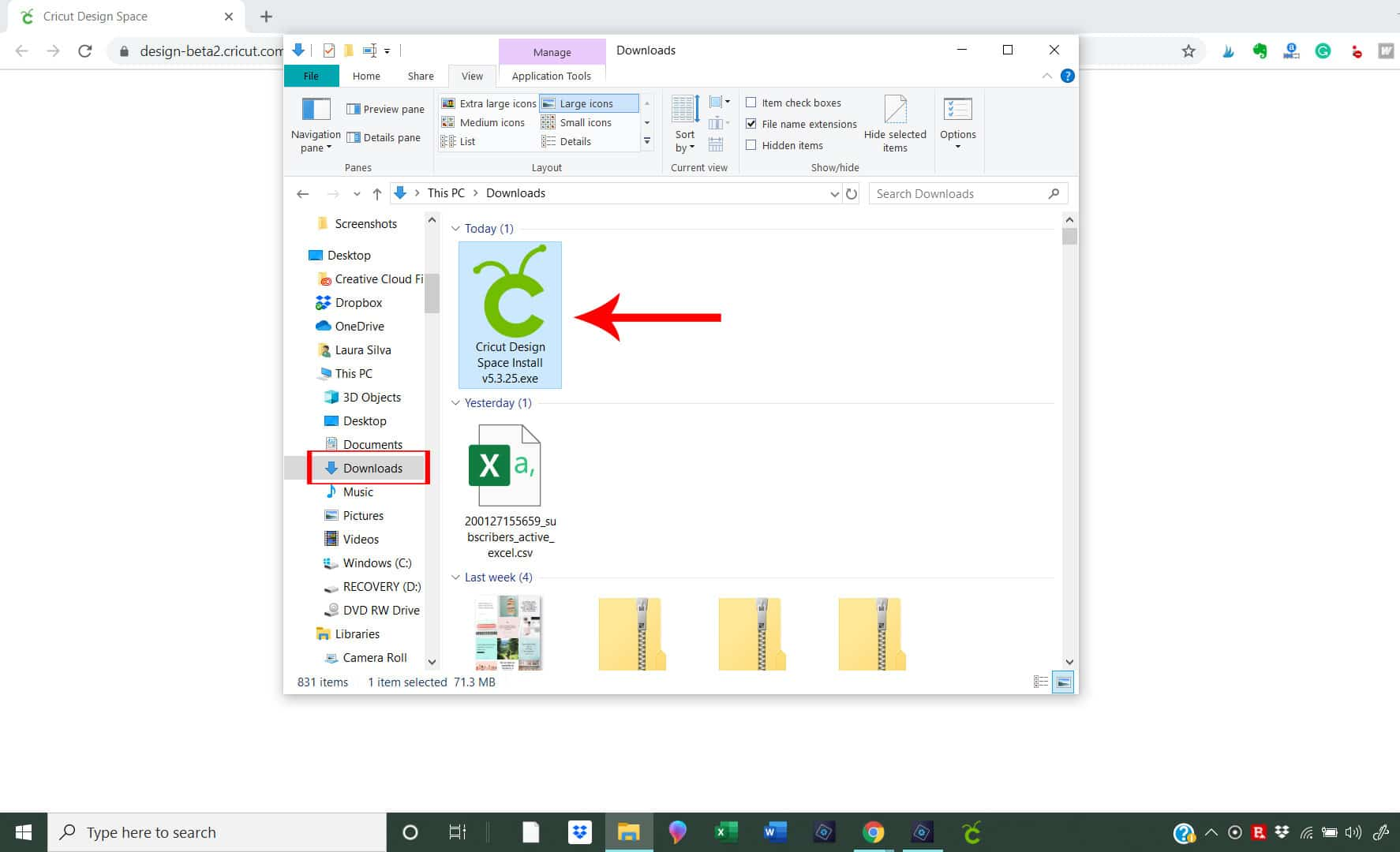 download folder to install file