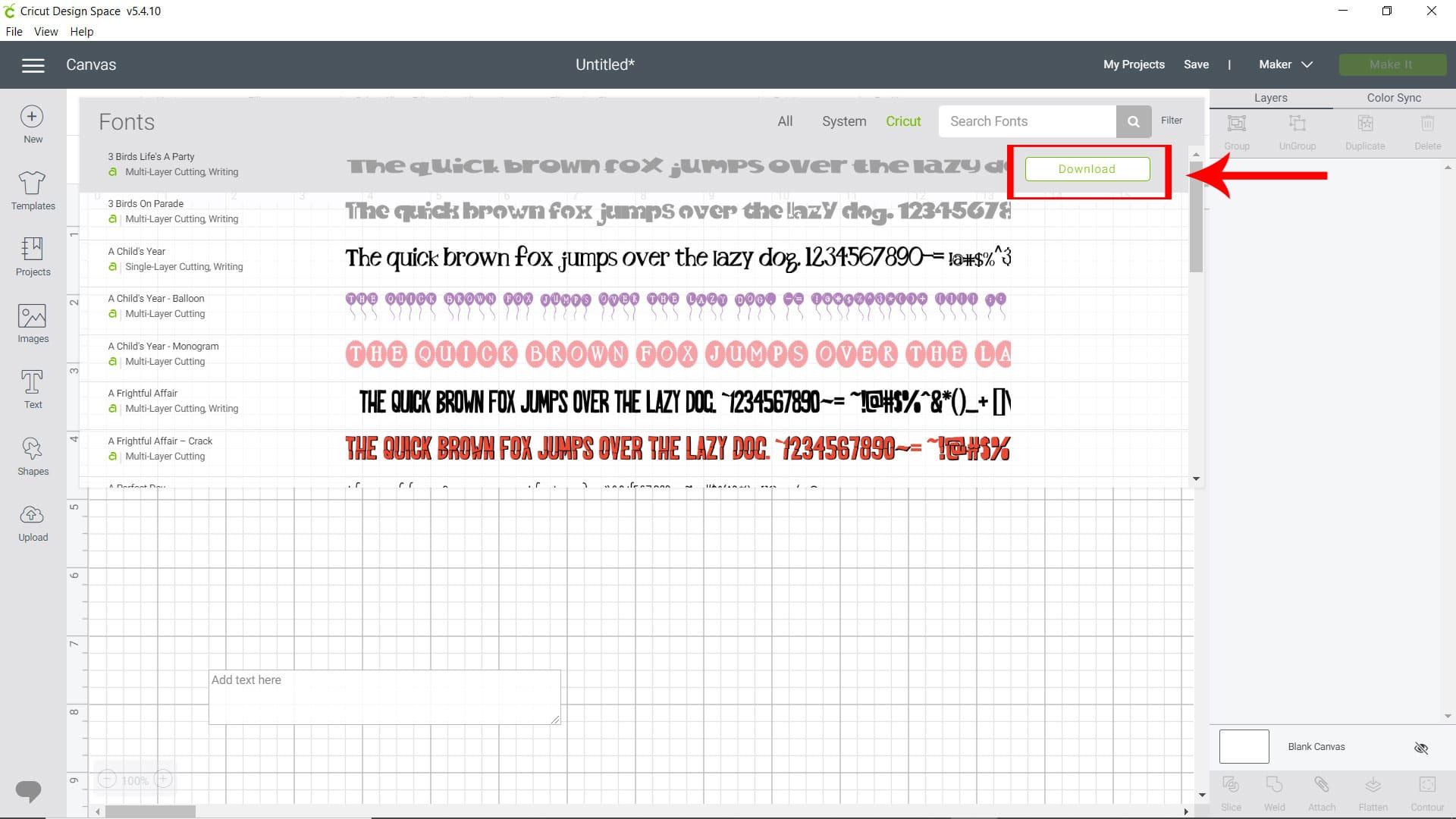 download font Cricut Design Space