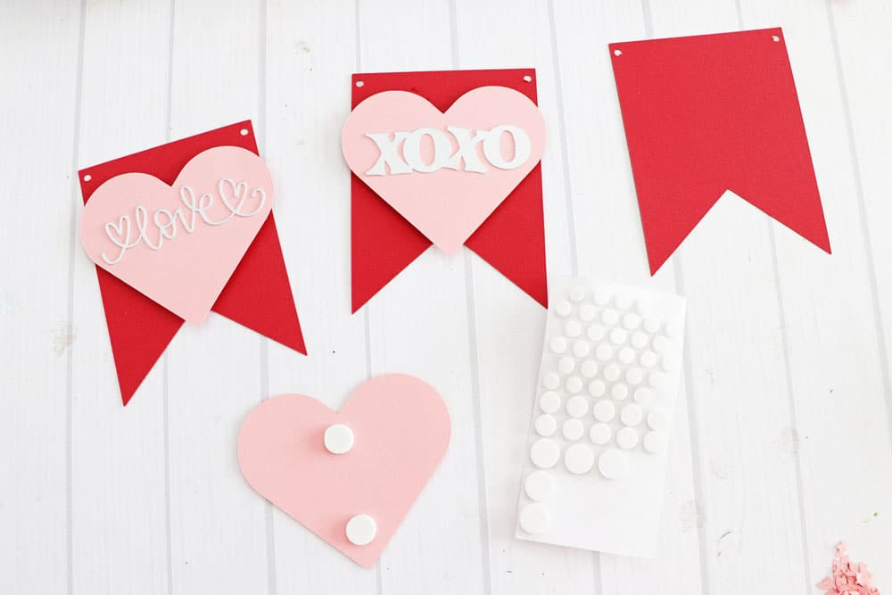 adhesive foam dots to attach hearts