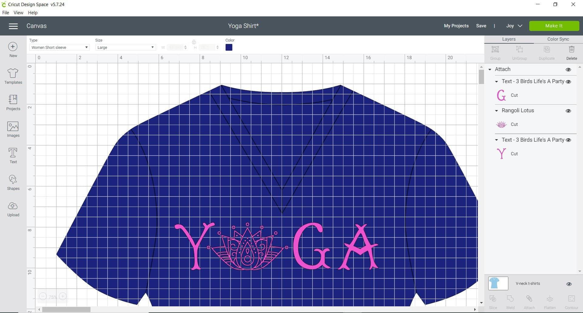 cricut design space - yoga shirt