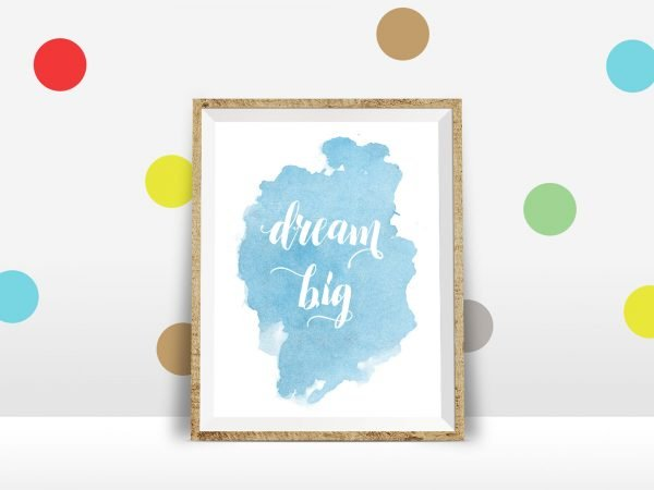 dream big printable polka dot wall mockup