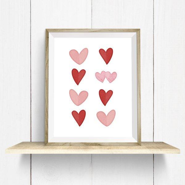 hearts printable frame on shelf