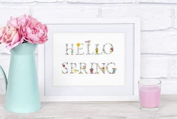 hello spring printable white frame