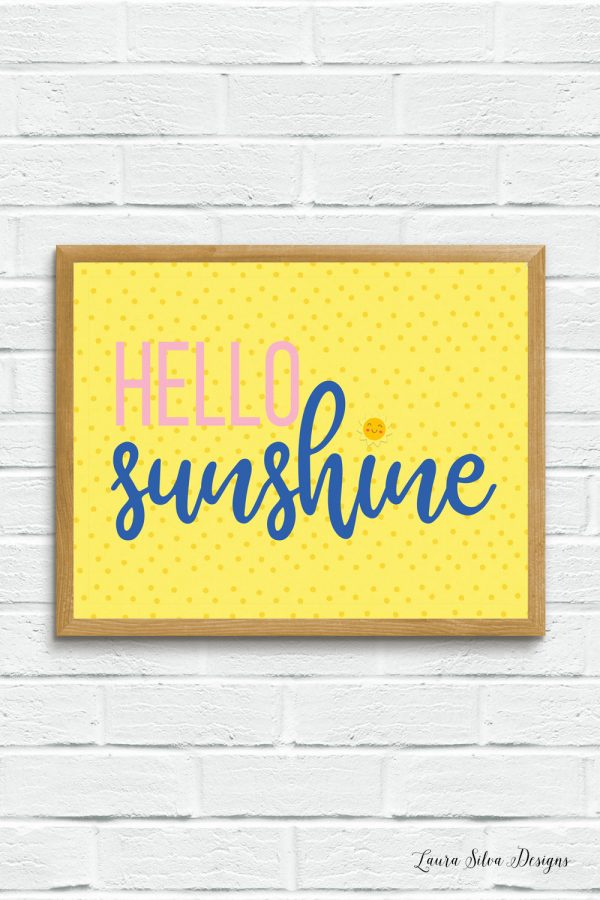 hello sunshine in wood frame