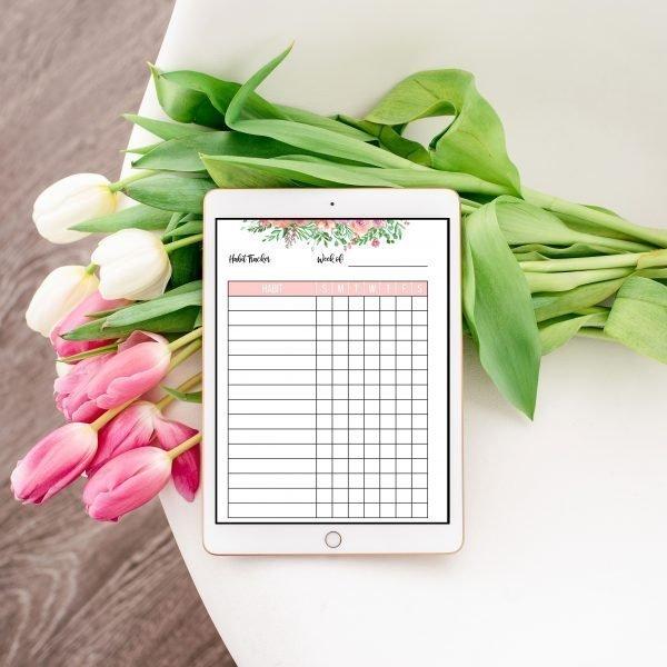 weekly habit tracker ipad mockup