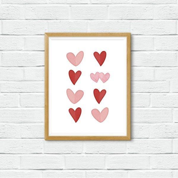 hearts printable brick wall