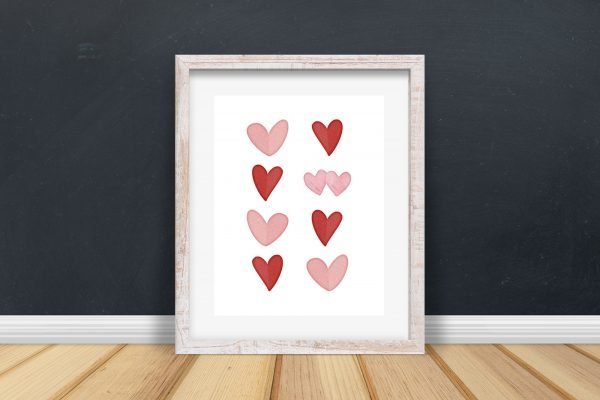 hearts printable black wall