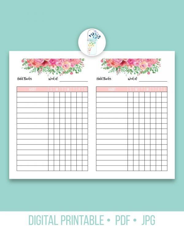 weekly habit tracker digital printable