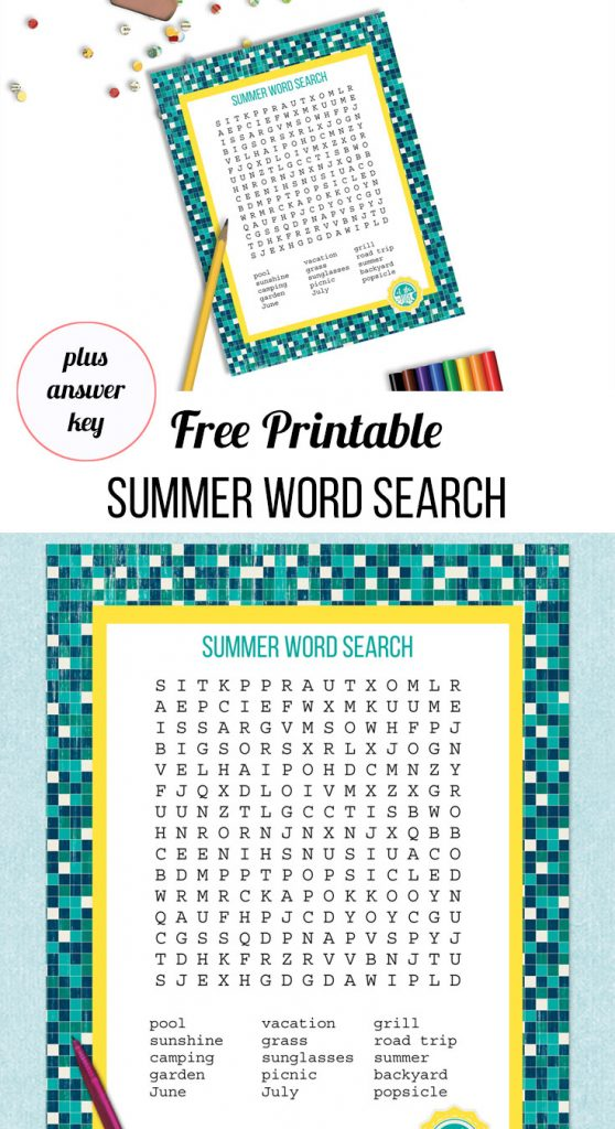summer word search and answer key
