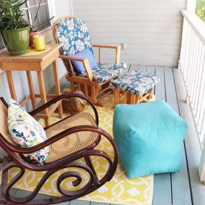 DIY outdoor pouf ottoman