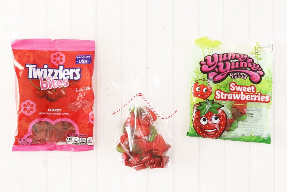 add candy to cellophane bag
