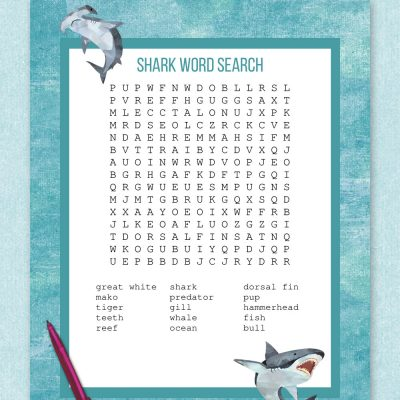 free printable shark word search