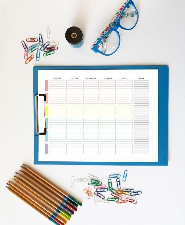 printable weekly planner mockup