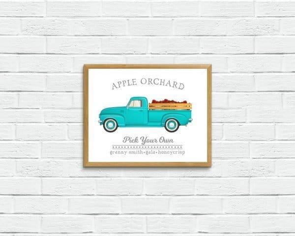 apple orchard print on brick wall
